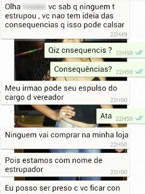 Conversa entre Leandro, suspeito de estupro coletivo e víitma em Indiara, Goiás (Foto: Arquivo pessoal)
