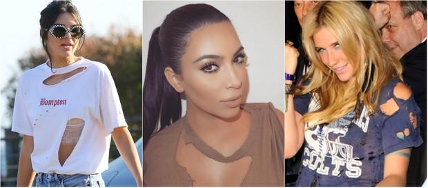 Kendall Jenner, Kim Kardashian e Kesha usabm blusa rasgada e mostra que peça está na moda (Foto: AKM e Getty)