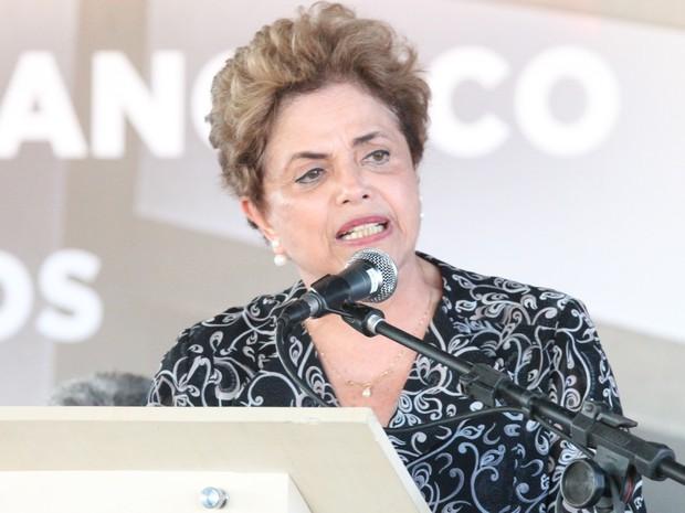 Dilma visita obra da transposição do Rio São Francisco nesta sexta-feira (6) (Foto: Taisa Alencar / G1)