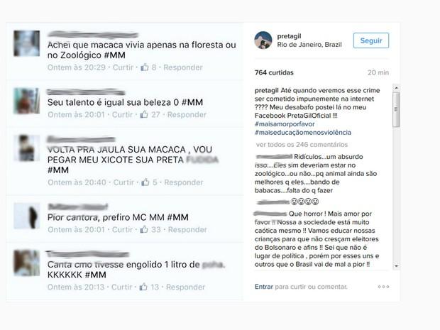 Cantora postou mensagens preconceituosas que foram escritas em sua rede social (Foto: Reprodução / Instagram)