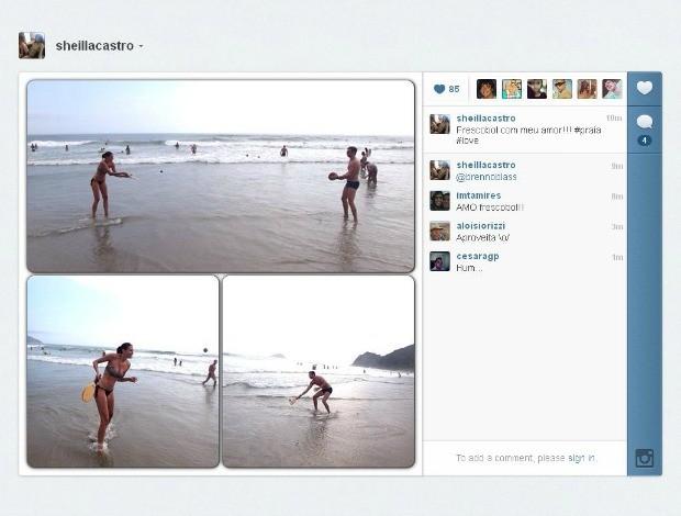 Sheilla do vôlei e o namorado Brenno em praia do litoral de São Paulo (Foto: Arquivo Pessoal)