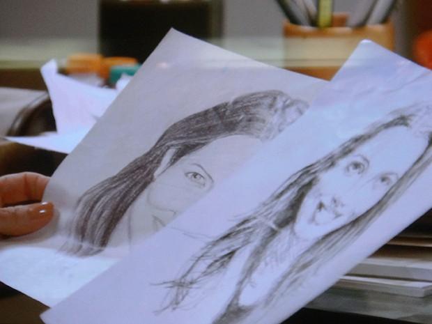 Maria Inês encontra os desenhos de Caíque (Foto: TV Globo)