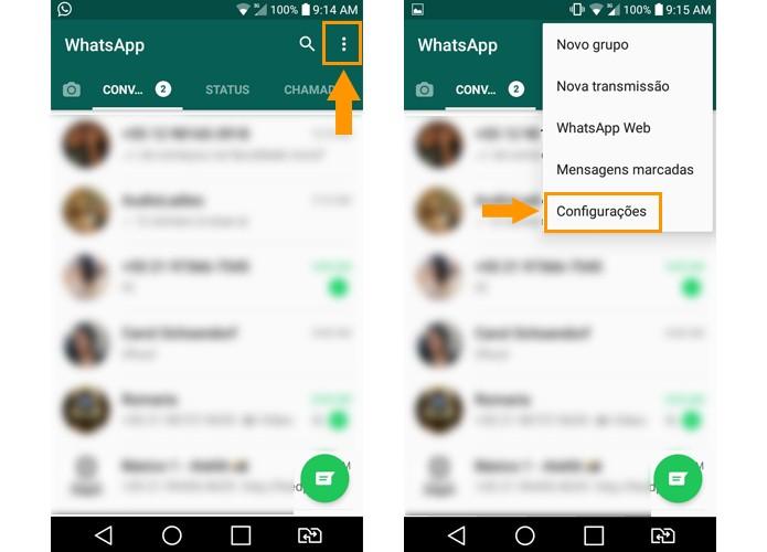 Abra as configurações do WhatsApp no Android (Foto: Reprodução/Aline Batista)
