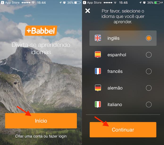 Opção para escolher um idioma para estudo no aplicativo Babbel (Foto: Reprodução/Marvin Costa)