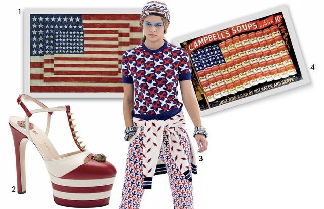 1. Obra Three Flags (1958), de Jasper Johns 2. Sapato Gucci R$ 4.180 3. Look Chanel/ Verão 2016 4. Propaganda da sopa Campbell (1961) (Foto: Looks de Marc Jacobs/verão 2016 e Lacoste/verão 2016. Na Música: Lana Del Rey, Axl Rose e Madonna)