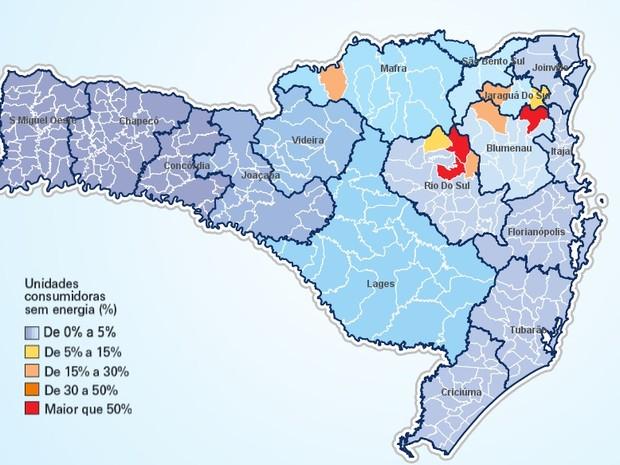 Mapa mostra porcentagem de falta de luz em unidades de municípios (Foto: Celesc/Divulgação)