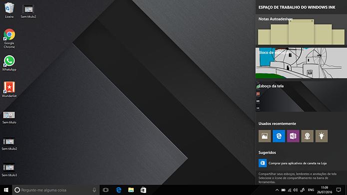 Windows Ink é a nova central para uso de canetas do Windows 10 (Foto: Reprodução/Elson de Souza)