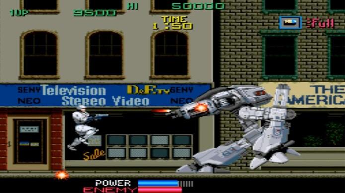 O policial do futuro Robocop teve um jogo popular, mesmo que não fosse tecnicamente excepcional (Foto: Reprodução/YouTube)