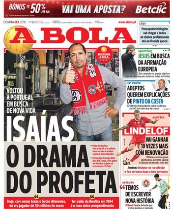 Isaías, capa do A Bola (Foto: Divulgação/ A Bola)