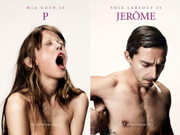 Mia Goth e Shia LaBeouf em pôsteres do filme 'Nymphomaniac', de Lars von Trier (Foto: Divulgação)