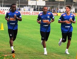 Maranhão, Neto e Alan Santos treino Santos (Foto: Lincoln Chaves / Globoesporte.com)