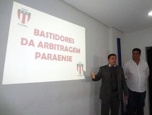 Thiago Passos e Zeca Pirão apresentam denúncia contra a arbitragem paraense  (Foto: Pedro Cruz)