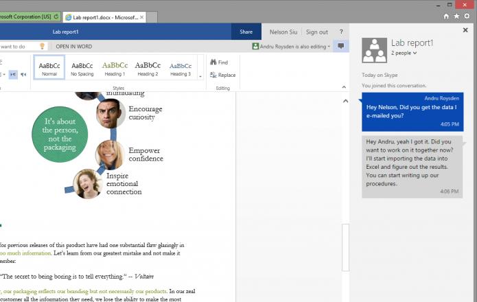 Chat do Skype pode ser usado no Office Online (foto: Reprodução/Microsoft)
