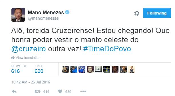Mano Menezes comemora em seu Twitter oficial a volta ao Cruzeiro  (Foto: Reprodução/ Twitter )