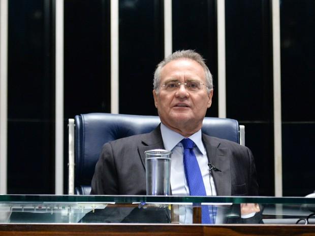 O presidente do Senado, senador Renan Calheiros (PMDB-AL), durante sessão ordinária no plenário do Senado (Foto: Jefferson Rudy/Agência Senado)