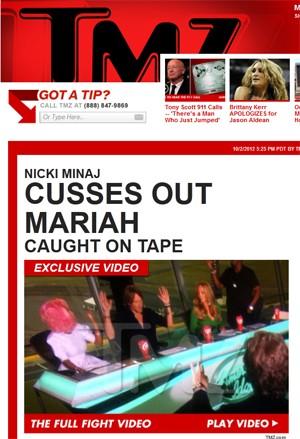 Nicki Minaj e Mariah Carey discutiram durante gravação do programa 'American idol' (Foto: Reprodução/TMZ.com)