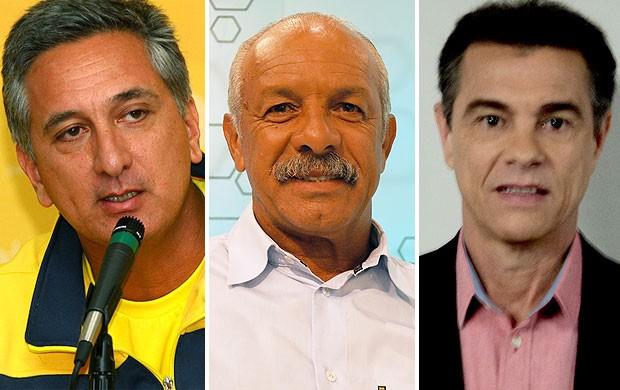montagem convidados Junior e Edinho comentaristas e Marcus Vinicius Freire Corujão do Esporte (Foto: Editoria de Arte)