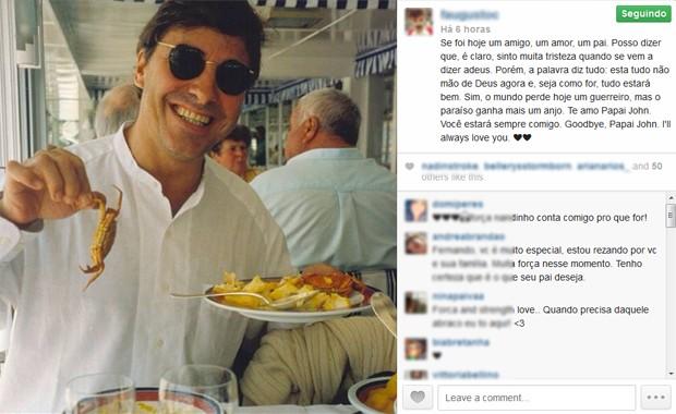 Foto e mensagem divulgadas no Instagram por um dos filhos de John Casablancas, Fernando Augusto (Foto: Reprodução/Instragram)