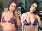 Aryane Steinkopf compara barriga de 8 meses de gravidez com a de agora