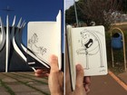 Artista do DF mistura realidade e imaginário em desenhos pela cidade