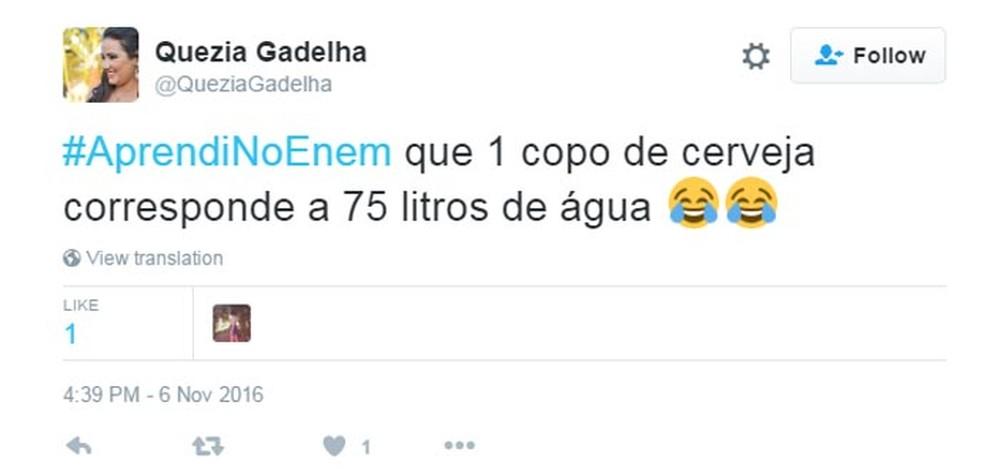 Candidatos saíram do Enem 2016 e foram direto para o Twitter fazer piadas sobre as provas (Foto: Reprodução/Twitter)