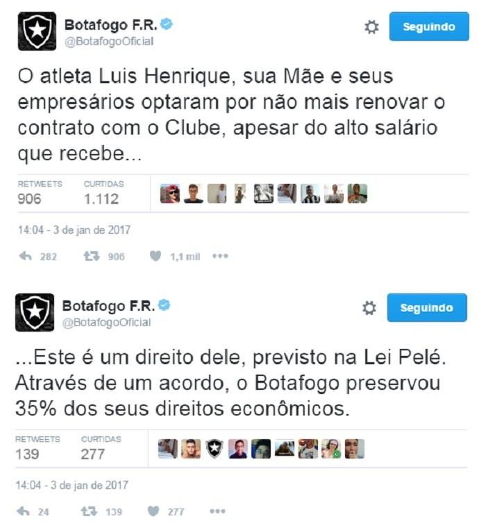 Luís Henrique, Botafogo (Foto: Reprodução)