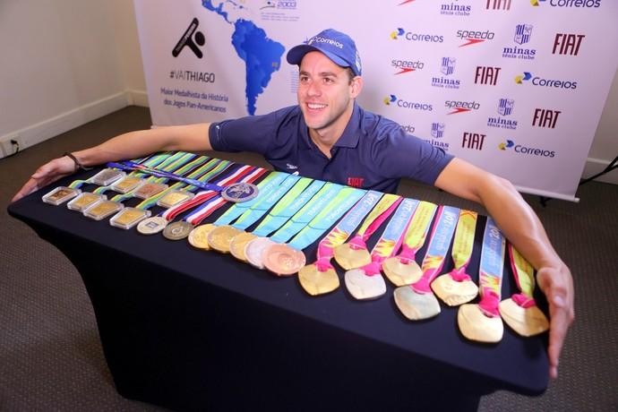 Thiago Pereira - medalhas Jogos Pan-Americanos (Foto: Orlando Bento/Minas)