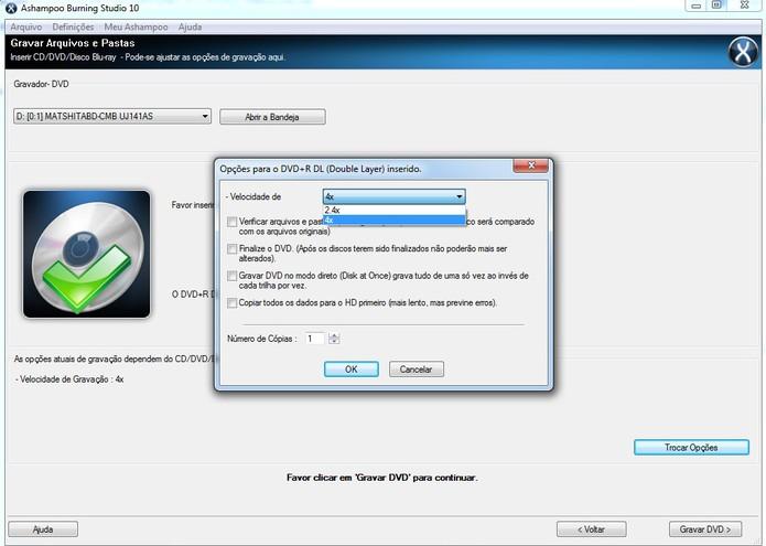 Gravação do DVD DL pelo Ashampoo: ajuste a velocidade para queimar o disco sem erros (Reprodução/Barbara Mannara)