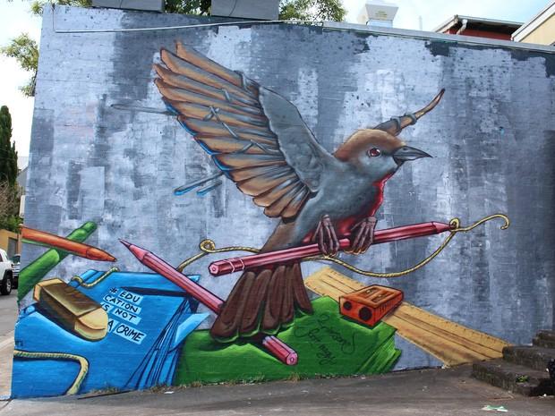 Grafite em SKrimsone e Scott Nagy em Sydney, na Austrália (Foto: Campanha Education is not a crime)