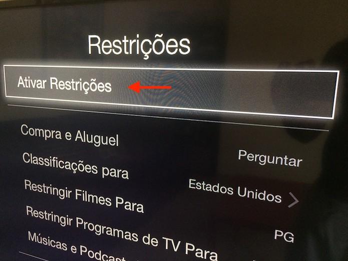 Iniciando a configuração das restrições de conteúdo da Apple TV (Foto: Reprodução/Marvin Costa)