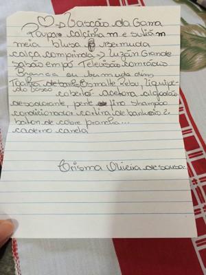 Carta que Bárbara entregou para o primo após rencontro em hospital (Foto: Cristina Boeckel/ G1)