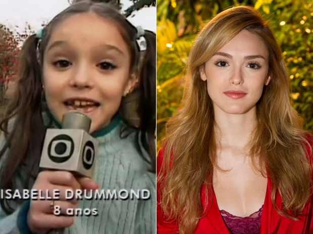 Antes e depois! À esquerda, Isabelle Drummond na época em que vivia Emília do Sítio do Picapau Amarelo e, à direita, em  momento atual (Foto: Reprodução / Estevam Avellar/TV Globo)