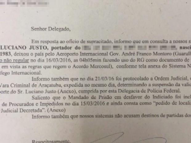 Documento da Polícia Federal diz que Justo saiu do país (Foto: Reprodução / TV TEM)