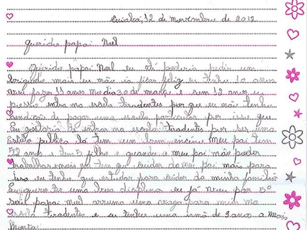 Menina de 10 anos escreve carta ao Papai Noel e não revela pedido aos pais (Foto: Kamilla Aguiar)