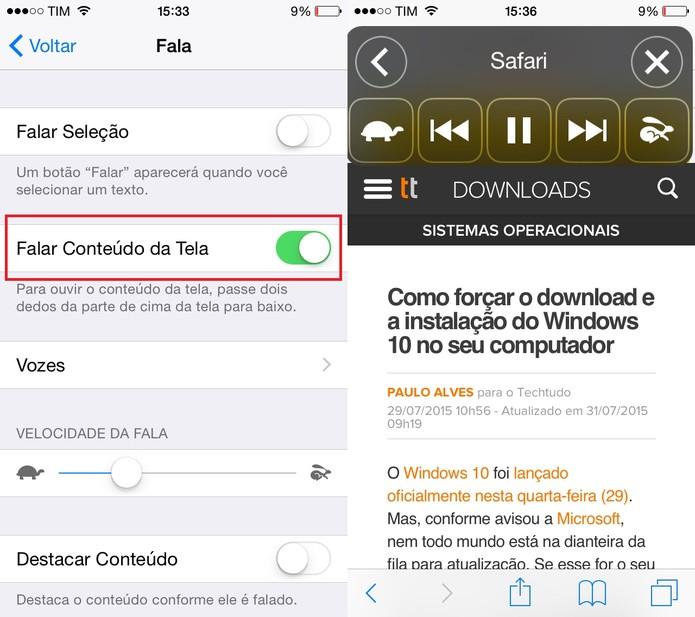iPhone 5C possui recurso de leitor de textos (Foto: Reprodução/Juliana Pixinine)