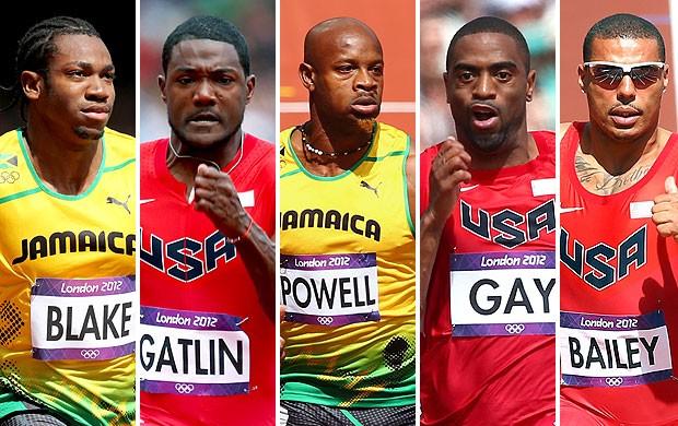 montagem corredores adversários Bolt (Foto: Editoria de Arte / Globoesporte.com)
