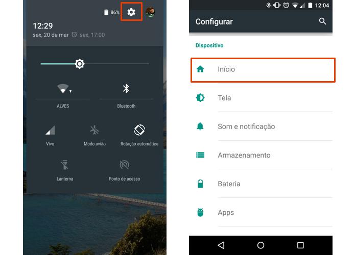 Acesse o item Início nas configurações do Android (Foto: Reprodução/Paulo Alves)
