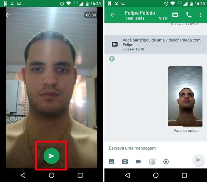 Enviando a mensagem de vídeo (Foto: Felipe Alencar/TechTudo)