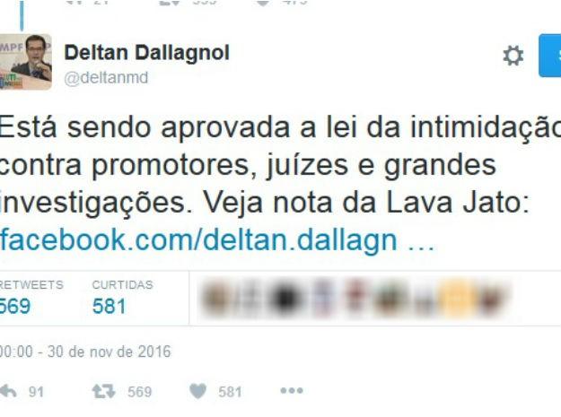 Deltan Dalagnoll publicou comentário sobre votação de emenda na Câmara dos Deputados  (Foto: Reprodução / Twitter)