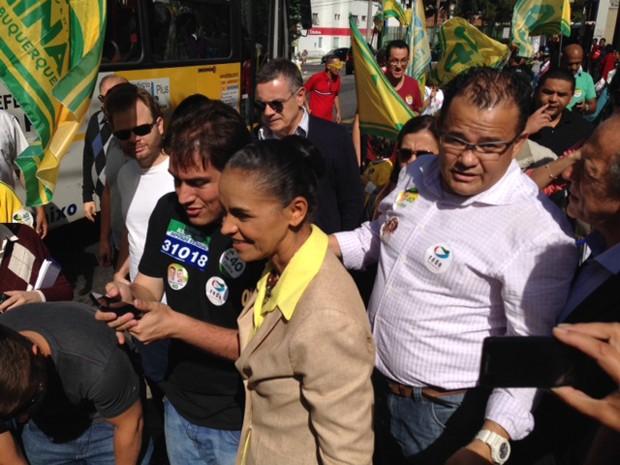 A candidata do PSB à Presidência, Marina Silva, durante ato político em SP (Foto: Márcio Pinho/G1)