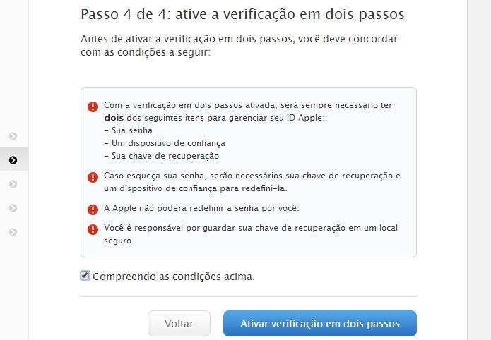 Finalizando configuração da verificação em dois passos (Foto: Reprodução/Helito Bijora)