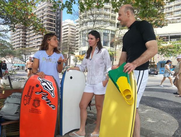 Tande e Glenda encaram bodyboard (Foto: Divulgação)