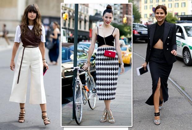 Nas ruas, as fashionistas já adotaram a tendência do top cropped cruzado (Foto: Imaxtree)