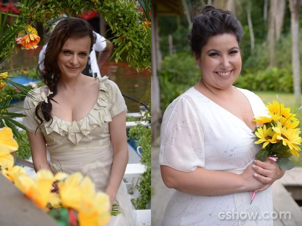 Olha o estilo das noivas Inês e Rita (Foto: Raphael Dias/TV Globo)