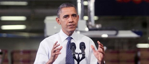 O presidente dos EUA, Barack Obama, discursa nesta sexta-feira (30) em Hatfield, na Pensilvânia (Foto: AFP)