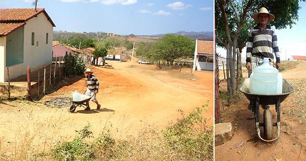 Empurrando um carrinho de mão, José Jácome caminha 8 quilômetros por dia para conseguir água (Foto: Anderson Barbosa/G1)