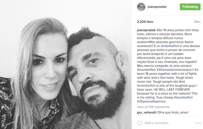 """BLOG: Joana Prado faz declaração a Belfort após derrota: """"Meu eterno campeão"""""""