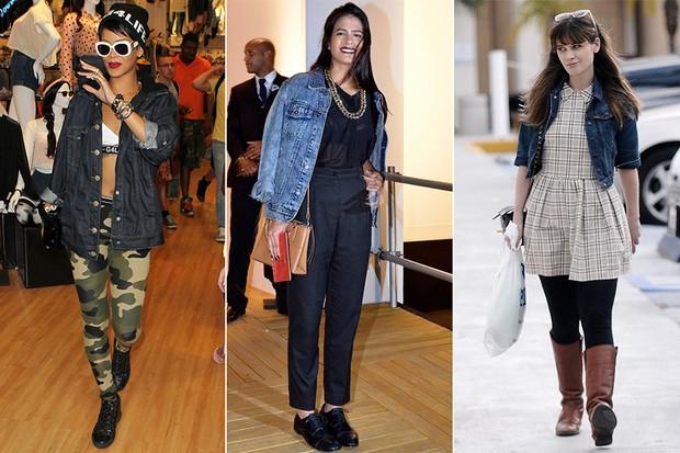 MODA - Jaqueta jeans - Rihanna, Antonia Morais e Zooey Deschanel (Foto: X17 | EGO | FramePhoto)