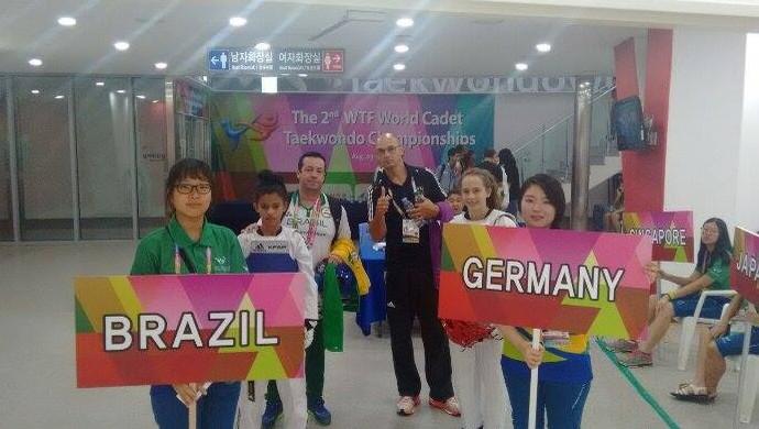 Liriel Dara no mundial de taekwondo (Foto: Itassi Camargo/arquivo pessoal)