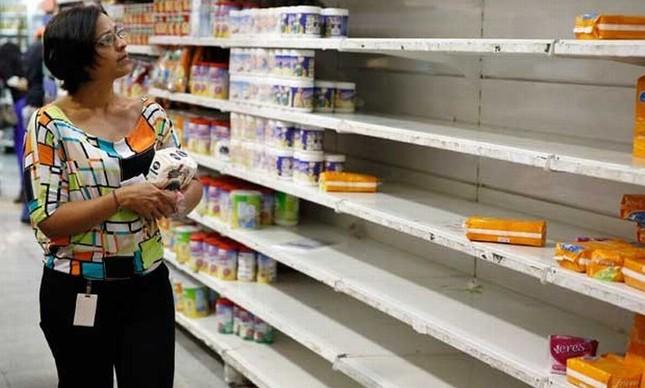 Prateleiras vazias nos supermercados da Venezuela (Foto: Arquivo Google)